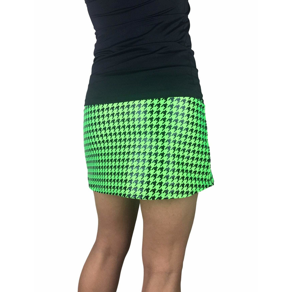 Green Houndstooth Print Athletic Slim Golf Skort w/ pocket- Golf Skirt - Smash Dandy