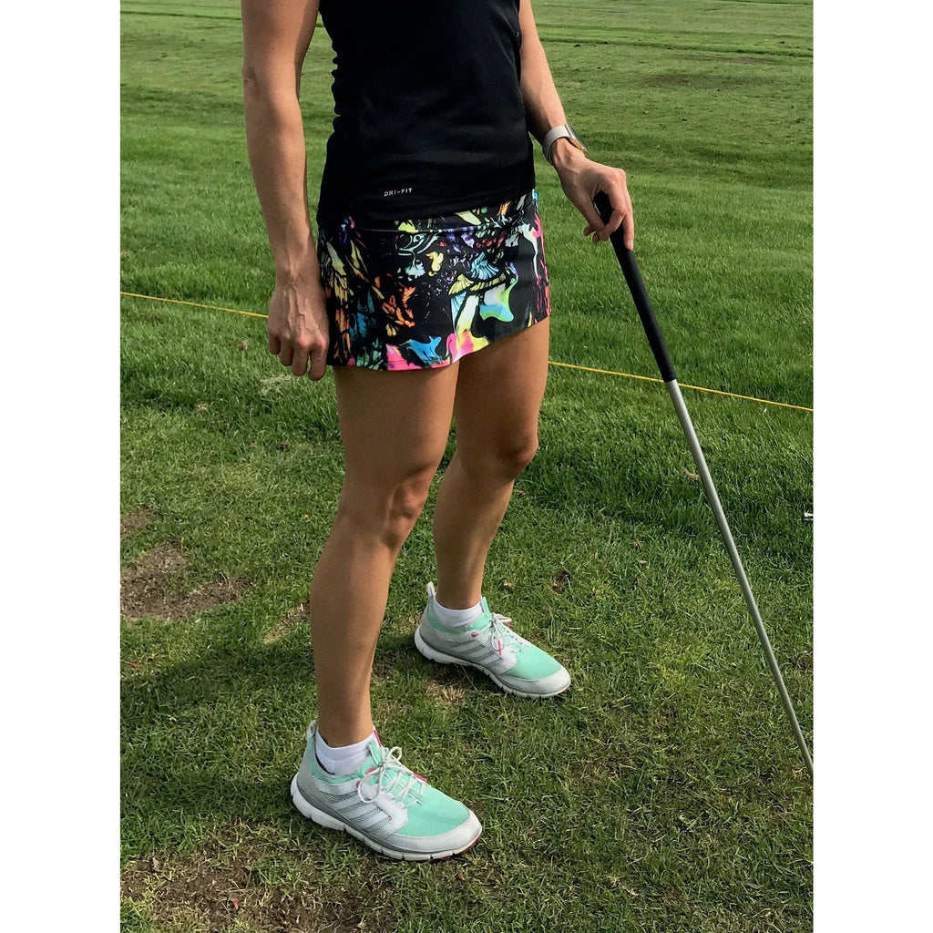 Watercolor Print Athletic Slim Skirt w/ built in compression shorts and pocket- tennis skirt, golf skirt, running skirt