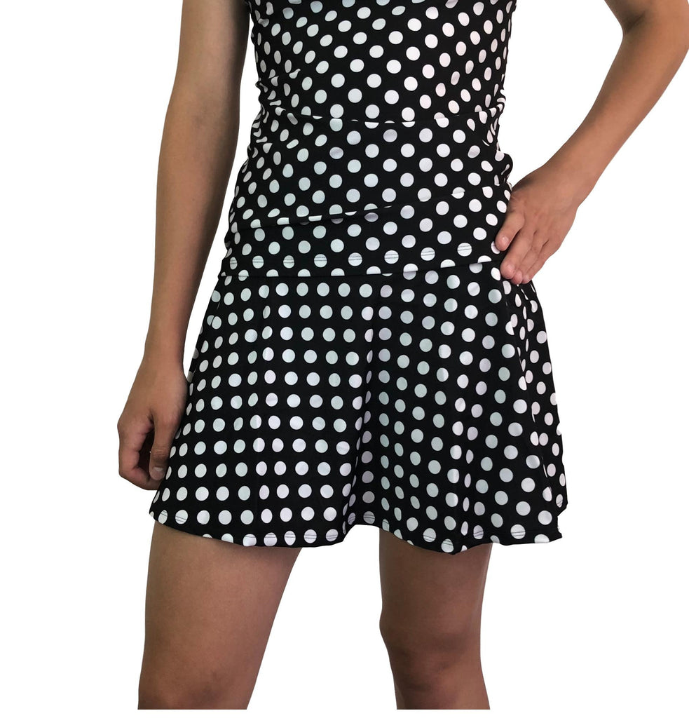 Polka Dot Athletic Flare Skirt w/ compression shorts and pocket- tennis skirt, golf skirt, running skirt - Smash Dandy