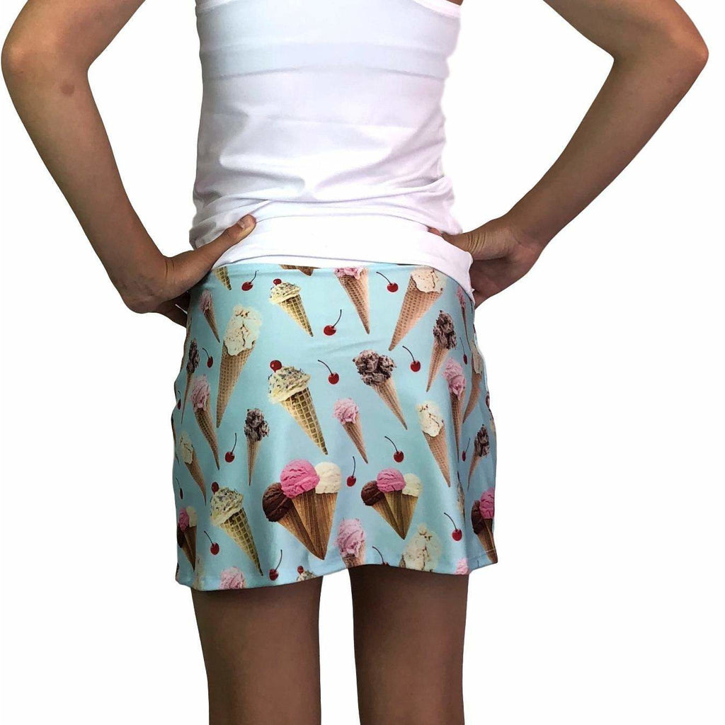 Ice Cream Print Athletic Slim Golf Skort w/ pocket- Golf Skirt