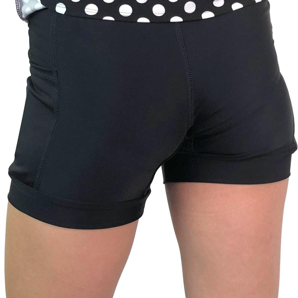 Black and Polka Dot Athletic Flutter Skort - Smash Dandy