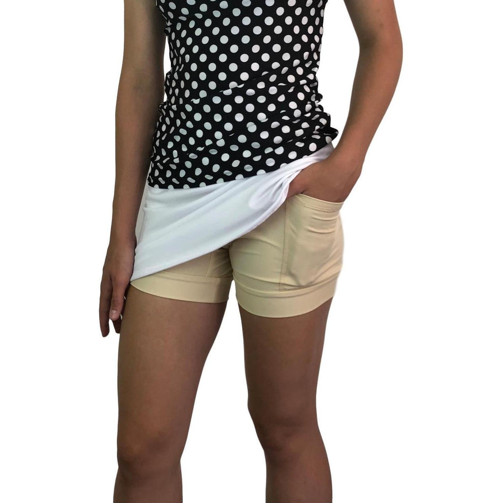White Athletic Flutter Golf, Running, Tennis Skort w/ pockets- Golf Skirt - Smash Dandy