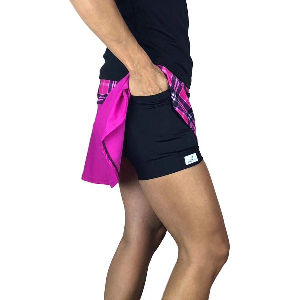 Pink Plaid w/ Pink Athletic Flutter Golf, Running, Tennis Skort w/ pockets- Golf Skirt