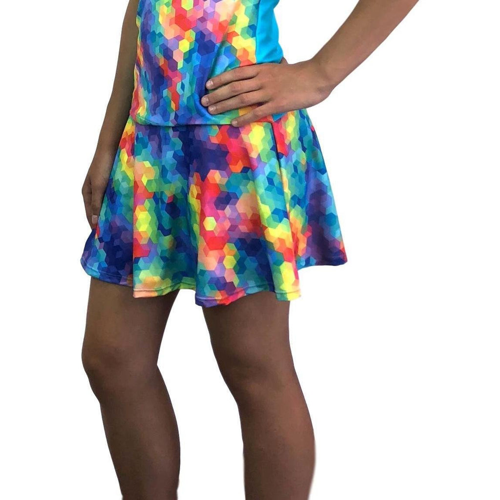 Rainbow Geo Athletic Flare Skort - Running Skirt - Smash Dandy