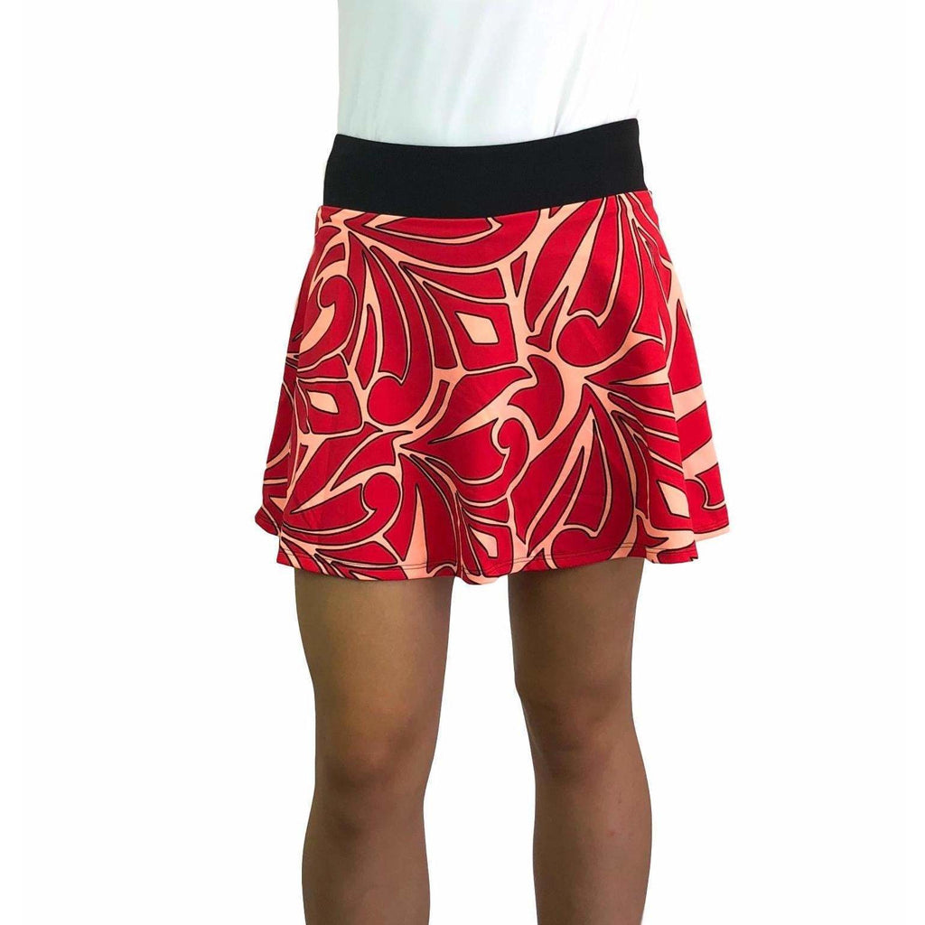 Red & Peach Abstract Athletic Flare Skirt w/ compression shorts and pockets - Smash Dandy