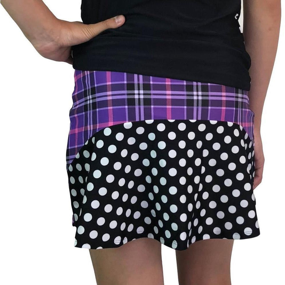 Purple Plaid w/ Polka Dots Athletic Flutter Golf, Running, Tennis Skort w/ pockets- Golf Skirt