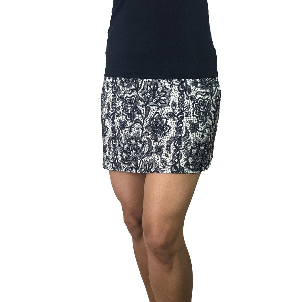 Black & White Lace Print Athletic Slim Golf Skort w/ pocket- Golf Skirt