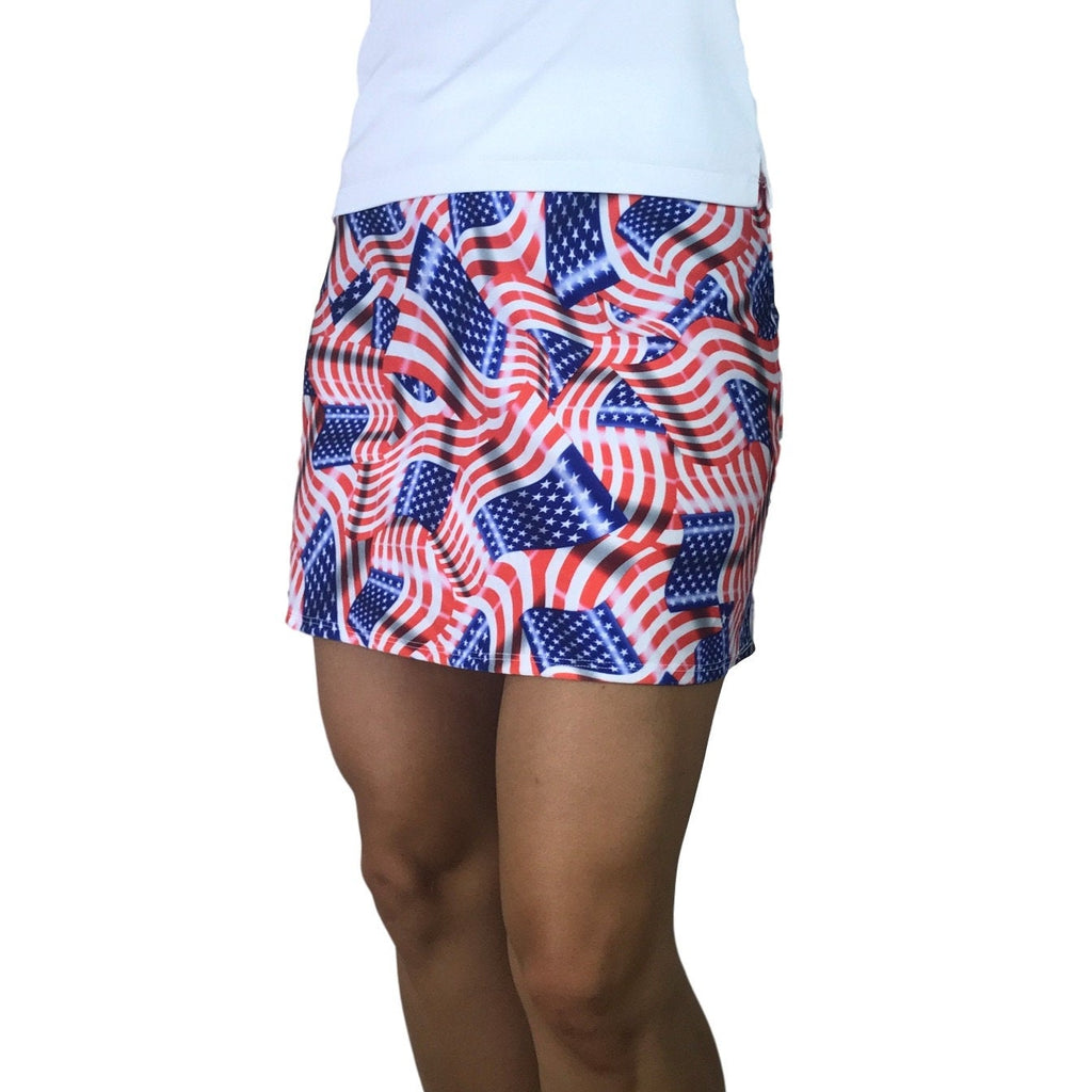 USA Flag Print Athletic Slim Golf Skort w/ pocket- Golf Skirt - Smash Dandy