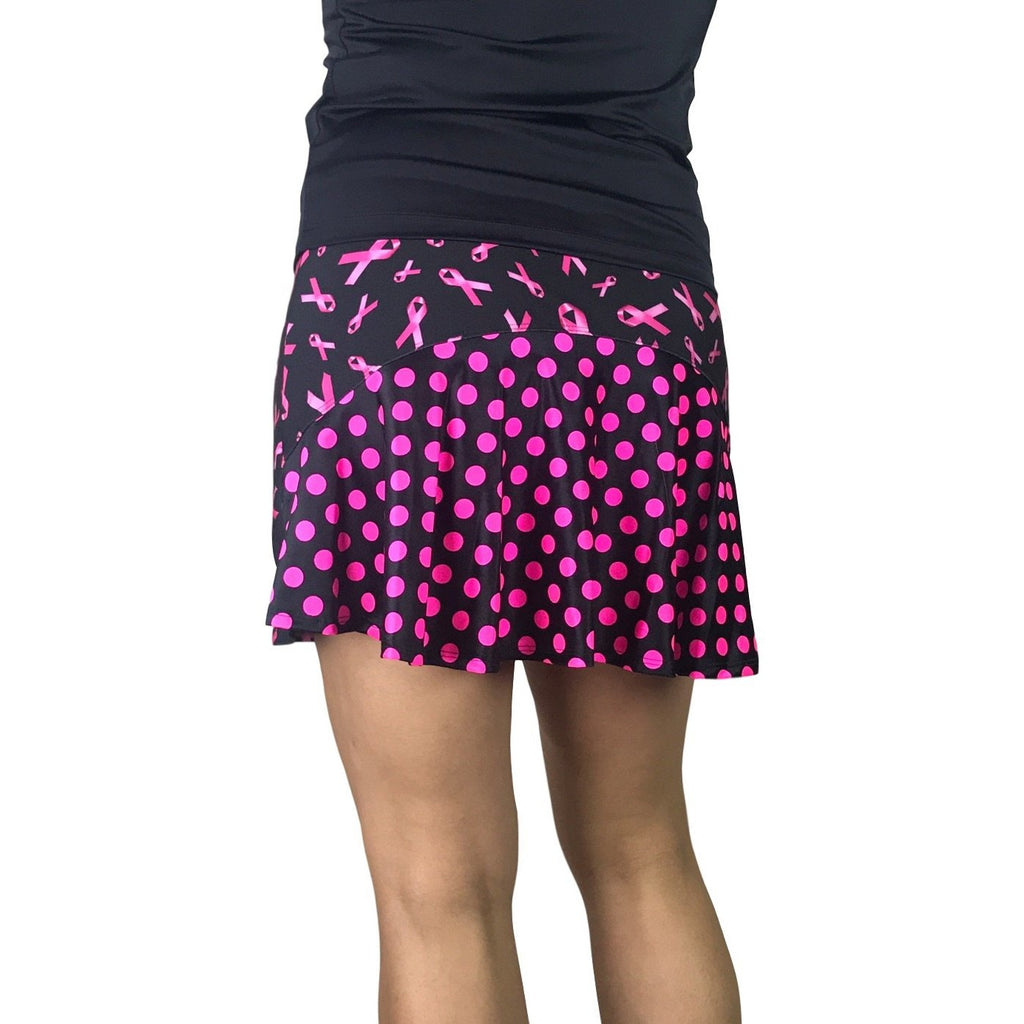 Pink Ribbon Breast Cancer Awareness w/Polka Dots Athletic Flutter Golf, Running, Tennis Skort w/ pockets- Golf Skirt