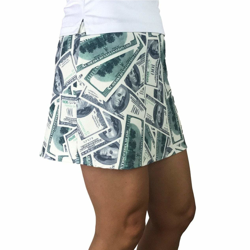 Benjamins Money Print Athletic Slim Golf Skort - Smash Dandy