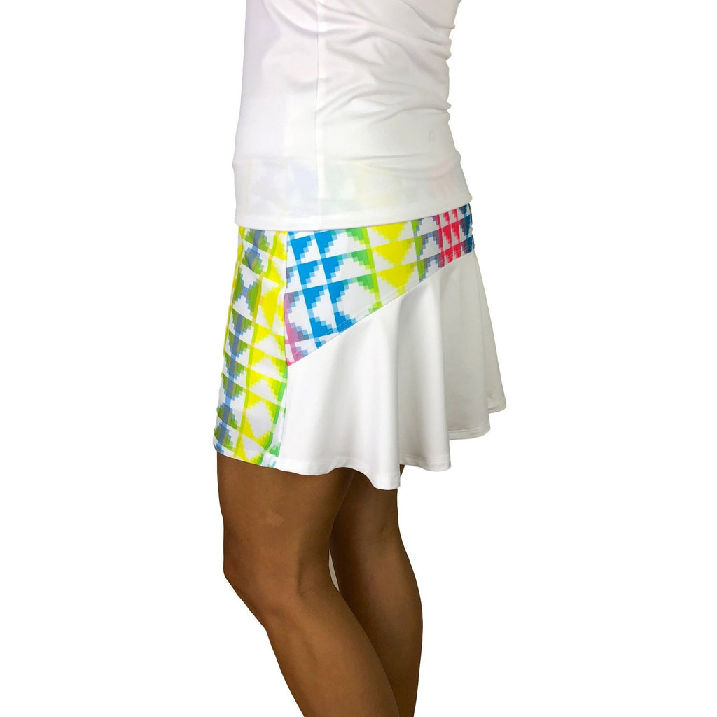 Neon Tetris Athletic Flutter Golf, Running, Tennis Skort w/ pockets- Golf Skirt