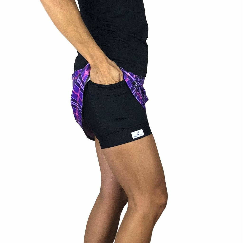 Purple Plaid Print Athletic Slim Golf Skort w/ pocket- Golf Skirt - Smash Dandy