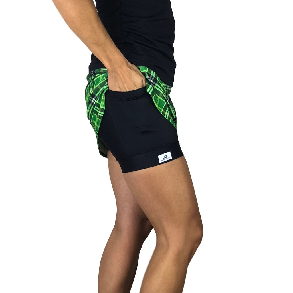 Green Plaid Print Athletic Slim Golf Skort w/ pocket- Golf Skirt - Smash Dandy