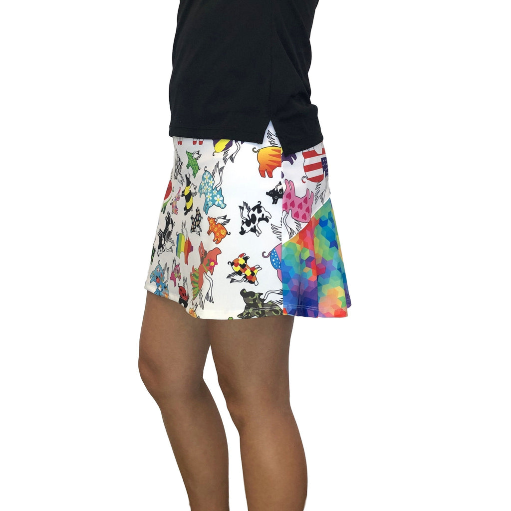 Flying Pig Rainbow Athletic Flutter Golf, Running, Tennis Skort w/ pockets - Running Skirt