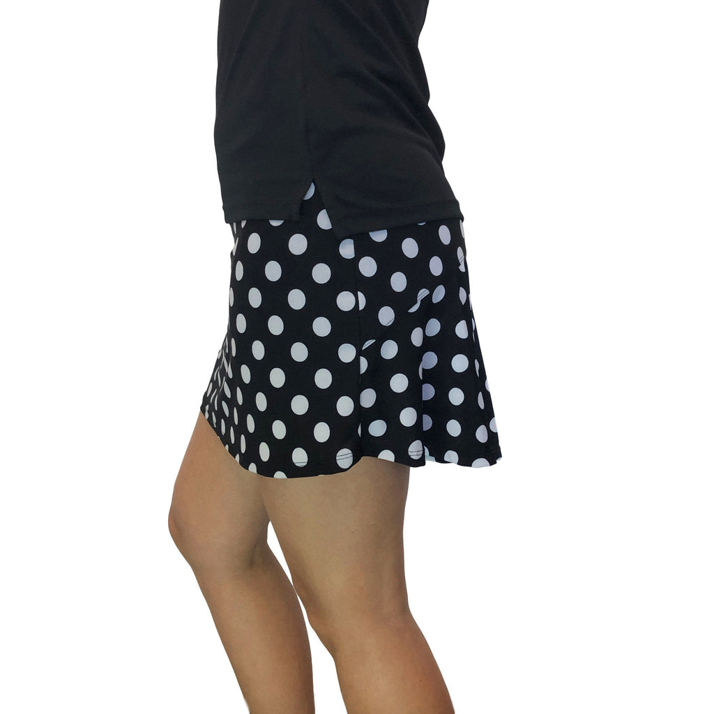 Polka Dot Athletic Flutter Golf, Running, Tennis Skort w/ pockets- Golf Skirt - Smash Dandy