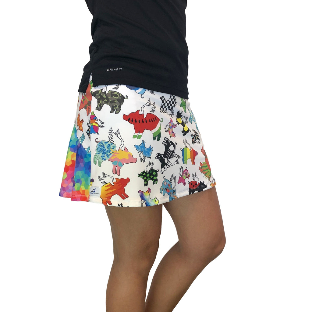 Flying Pig Rainbow Athletic Flutter Skort - Smash Dandy