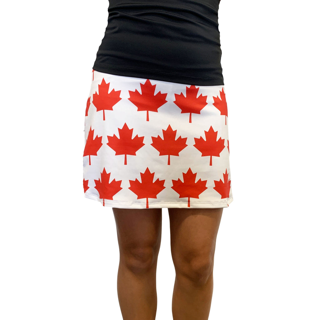 Canadian Flag Print Athletic Slim Golf Skort w/ pocket- Golf Skirt Oh Canada