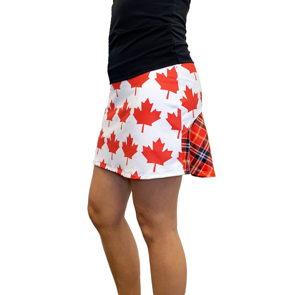 Canadian Flag Maple Leaf Athletic Flutter Skort - Smash Dandy