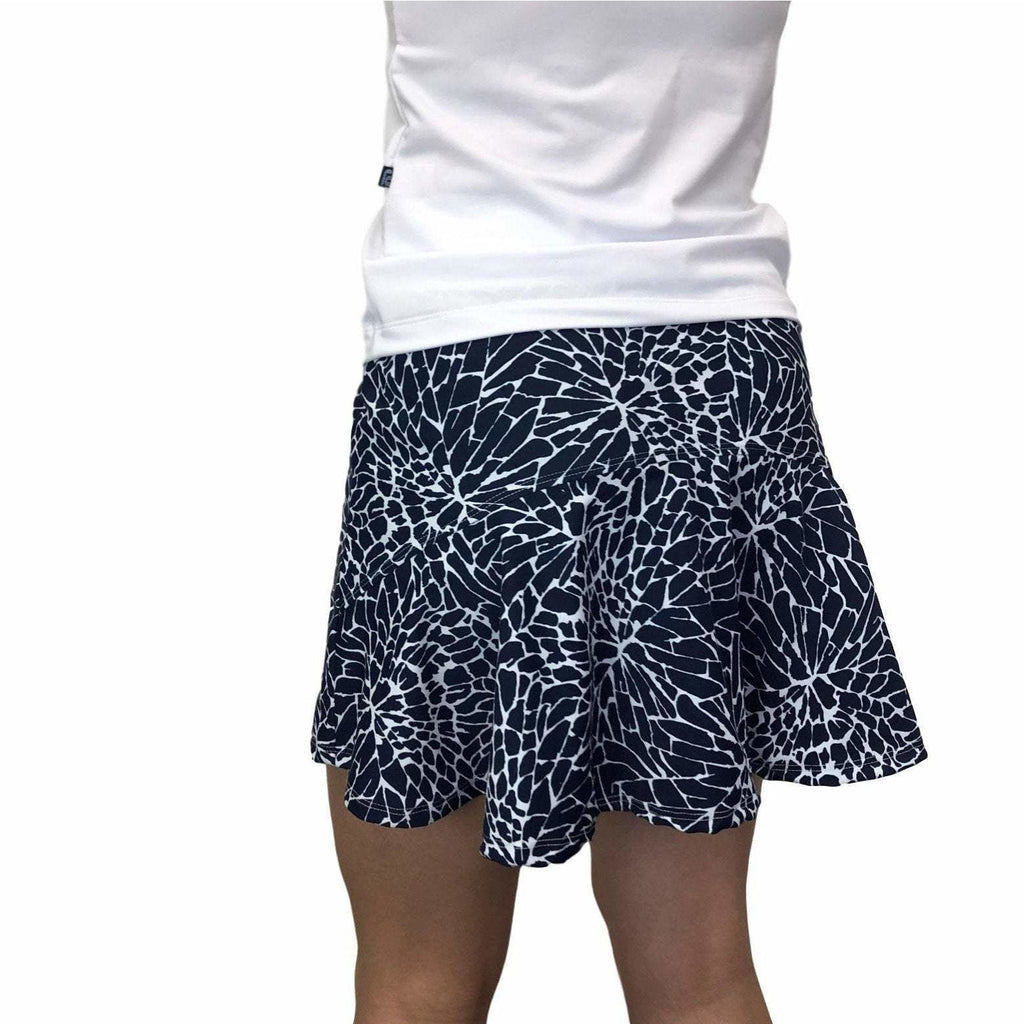Navy Cracked Print Athletic Flutter Style Golf Skirt w/ built in compression shorts and pockets