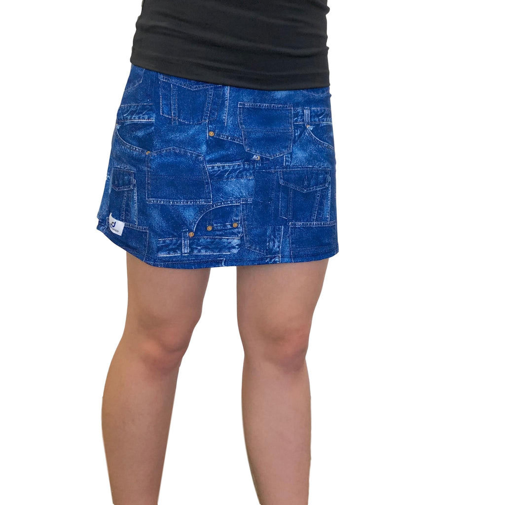 Denim Jean Printed Athletic Flutter Style Golf Skirt w/ built in compression shorts and pockets