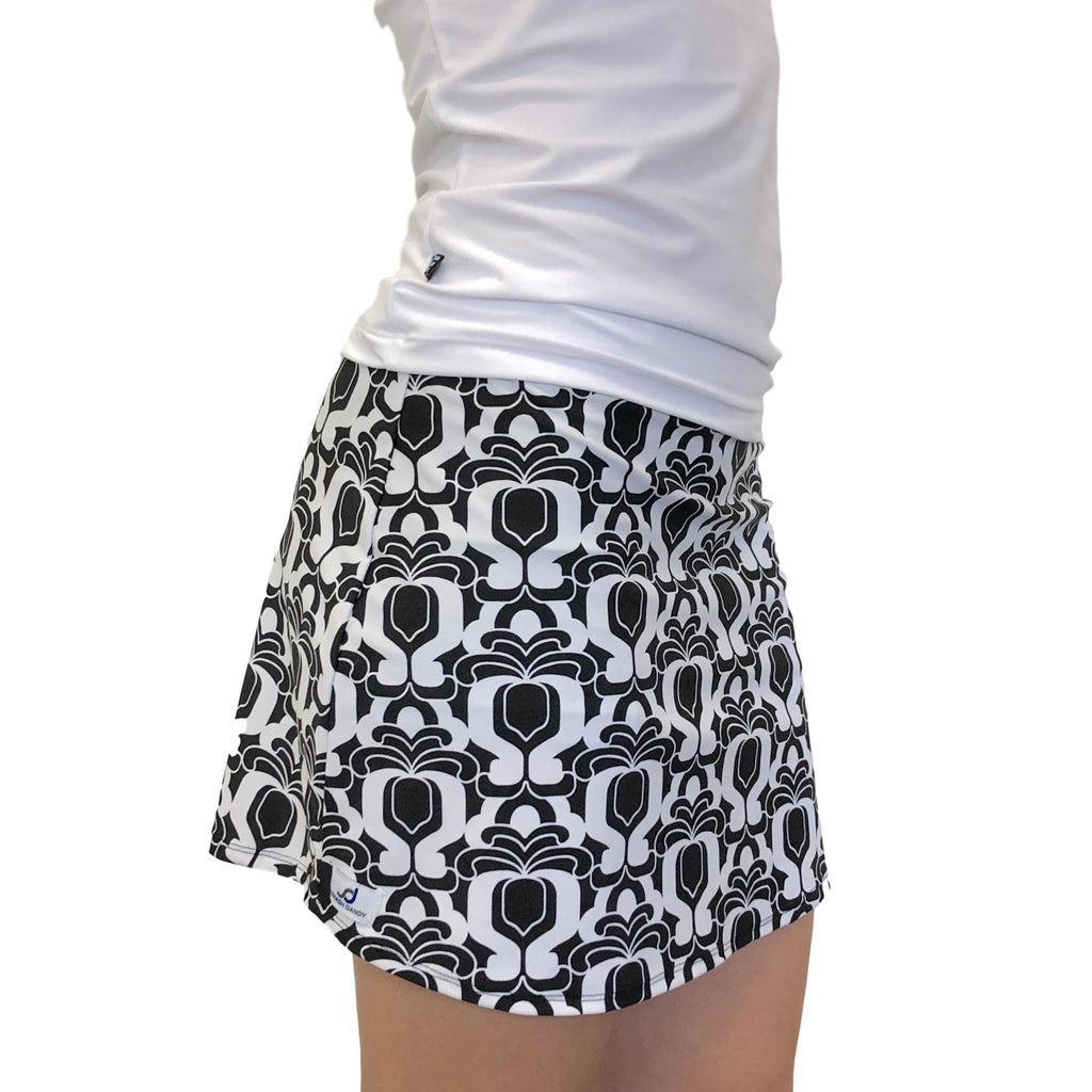 Black White Abstract Athletic Slim Style Skort - Golf Skirt - Smash Dandy