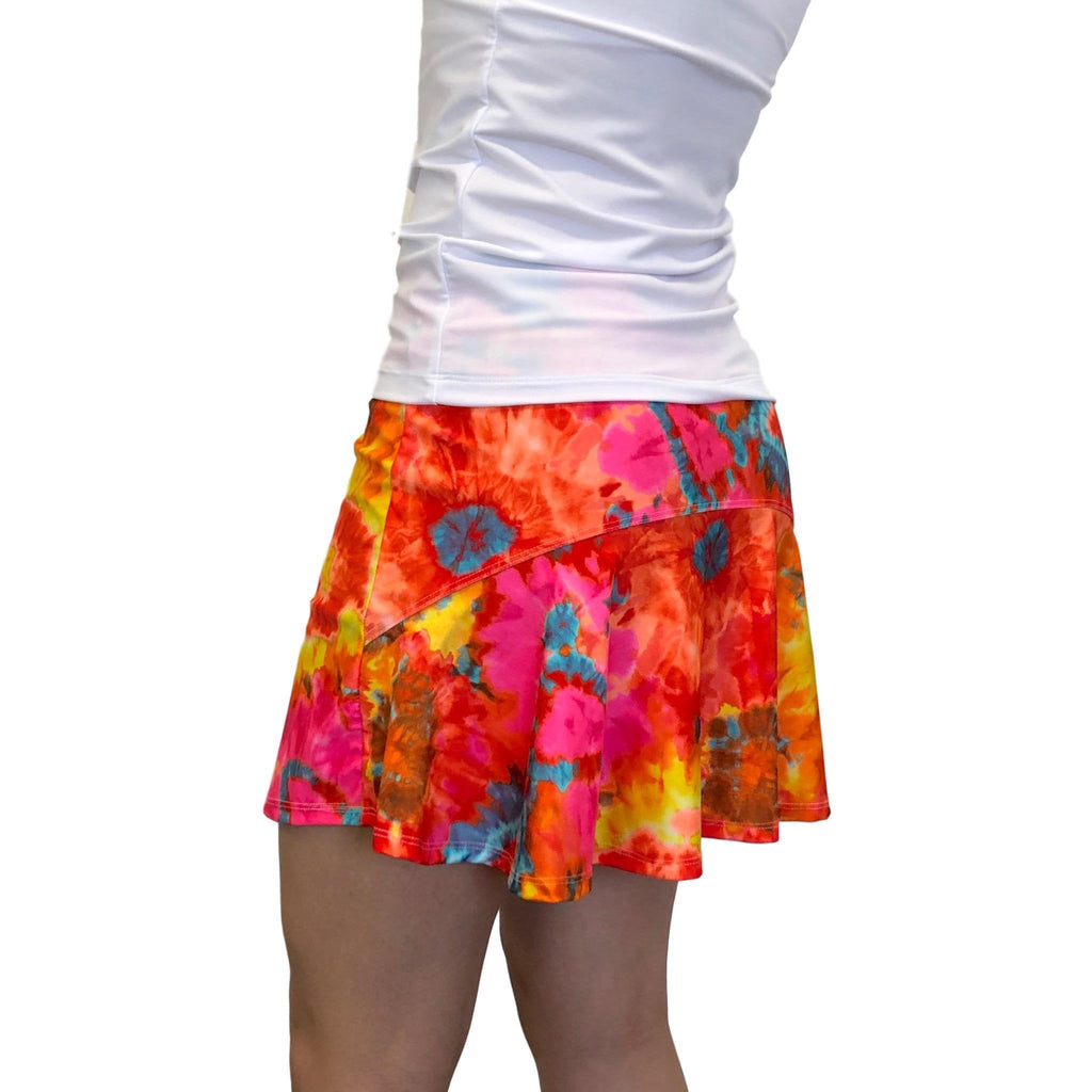 Orange Tie Dye Athletic Flutter Golf, Running, Tennis Skort w/ pockets- Golf Skirt - Smash Dandy