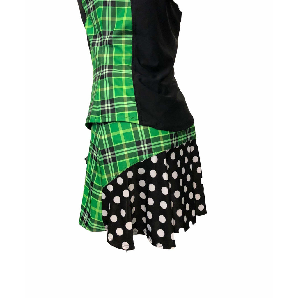 Green Plaid Polka Dot Athletic Golf Outfit With Collar- Athletic Collared Shirt, Golf Apparel, Tennis Outfit Skirt w/ built in shorts - Smash Dandy