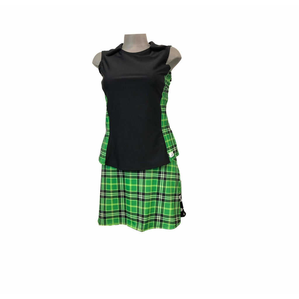 Green Plaid Polka Dot Athletic Golf Outfit With Collar- Athletic Collared Shirt, Golf Apparel, Tennis Outfit Skirt w/ built in shorts