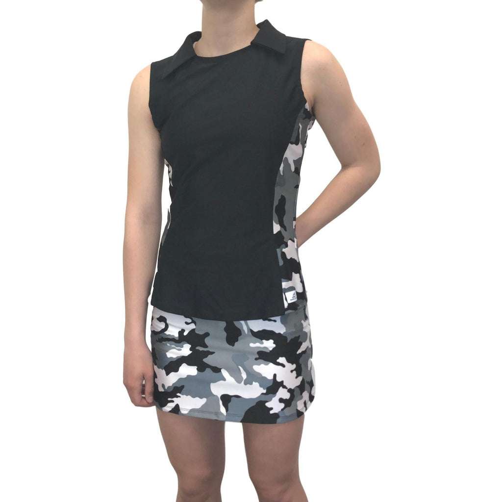 Black and White Camo Athletic Golf Outfit- Athletic Collared Shirt, Golf Apparel, Tennis Outfit Skirt w/ built in compression shorts