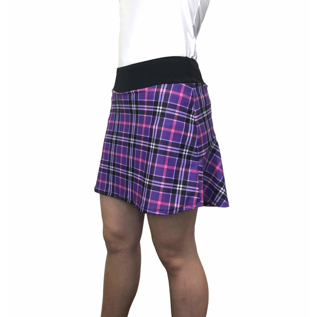 Purple Plaid w/ Plaid Athletic Flutter Golf, Running, Tennis Skort w/ pockets - Smash Dandy
