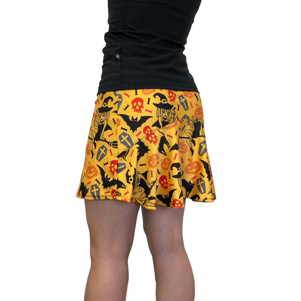 Halloween Bats & Cats Print Athletic Flutter Skort - Tennis or Golf Skirt - Smash Dandy