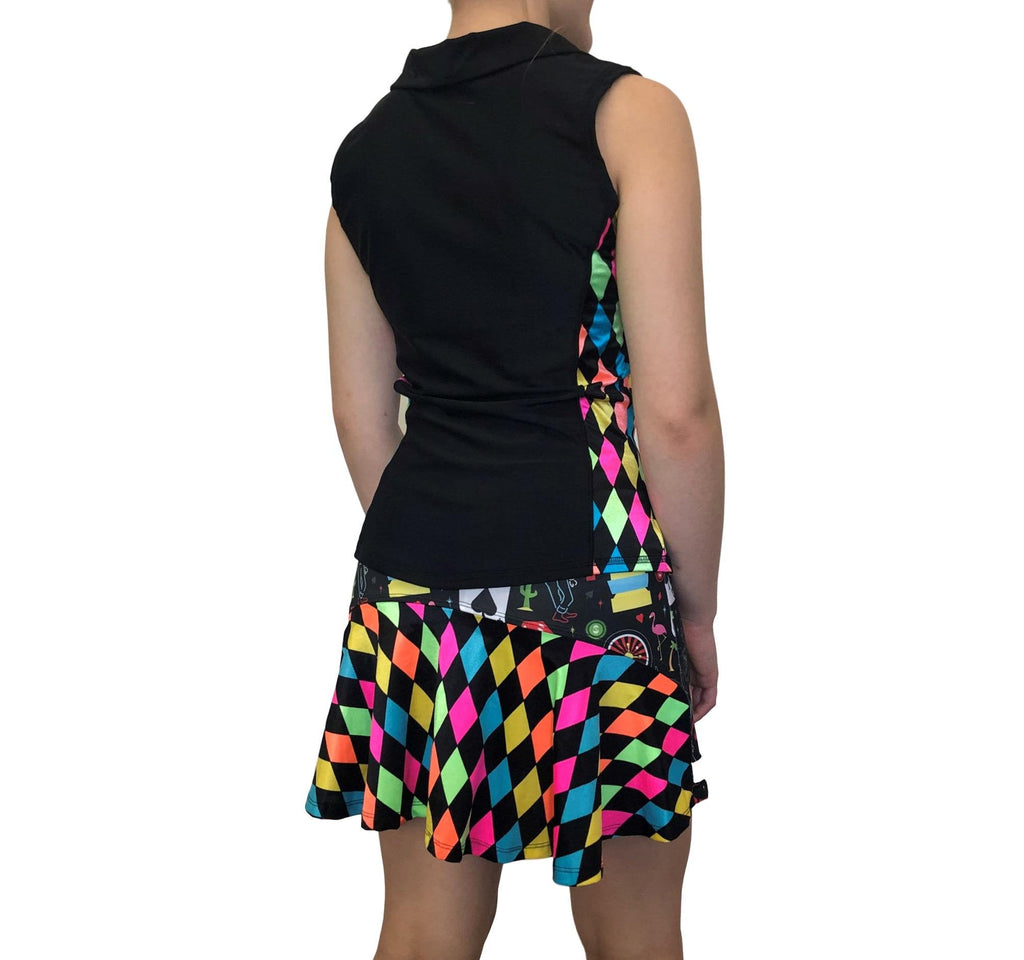 Vegas and Neon Diamond Athletic Golf Outfit- Athletic Collared Shirt, Golf Apparel, Tennis Outfit Skirt w/ built in compression shorts