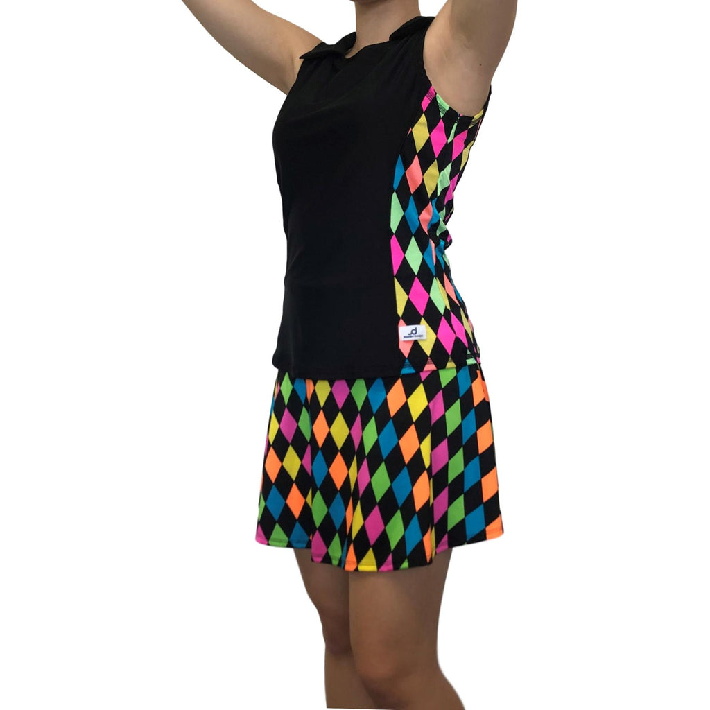 Neon Diamond Athletic Golf Outfit- Athletic Collared Shirt, Golf Apparel, Tennis Outfit Skirt w/ built in compression shorts