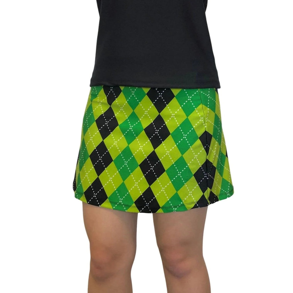 Green and Black Argyle Print Athletic Slim Golf Skort w/ pocket- Golf Skirt, Kilt
