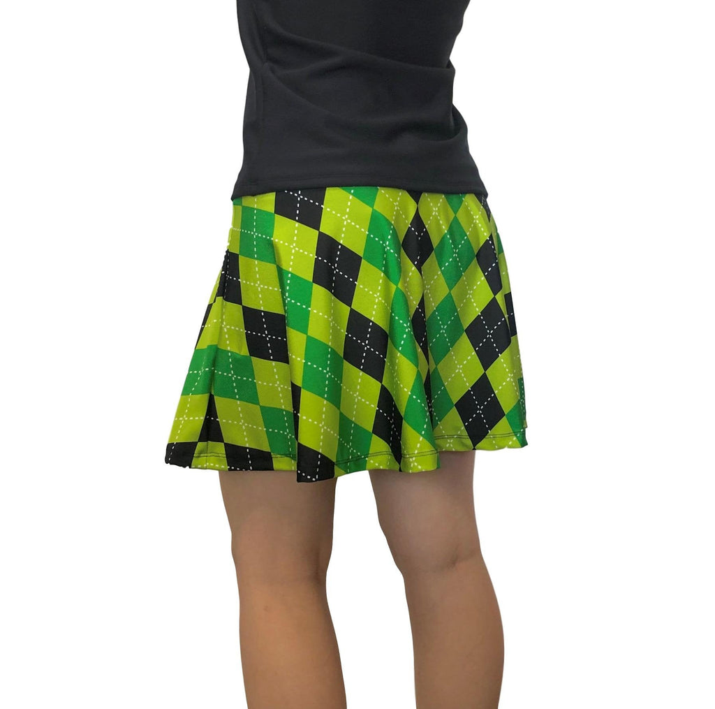 Green & Black Argyle Flare Skort - Smash Dandy