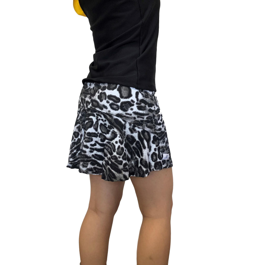 Black and White Leopard Athletic Flutter Golf, Running, Tennis Skort w/ pockets- Golf Skirt