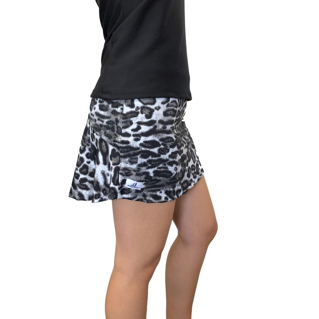 Black and White Leopard Athletic Flutter Skort - Smash Dandy