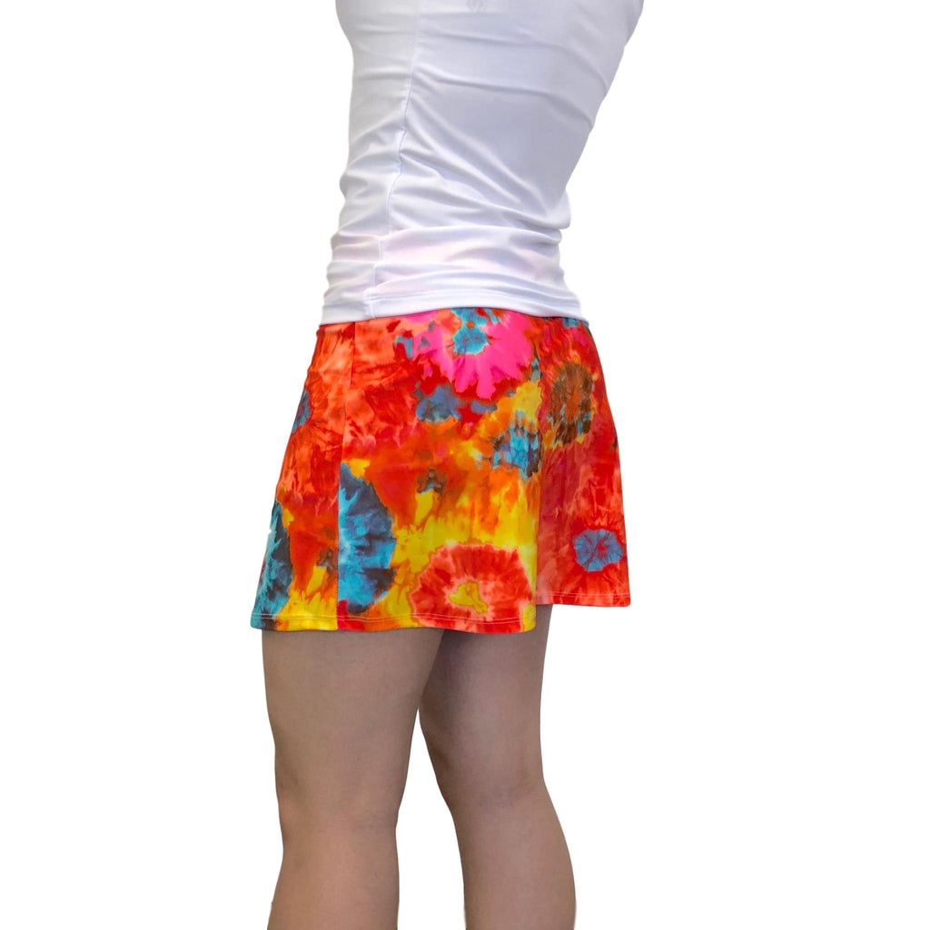 Orange Tie Dyed Print Athletic Slim Golf Skort w/ pockets - Smash Dandy