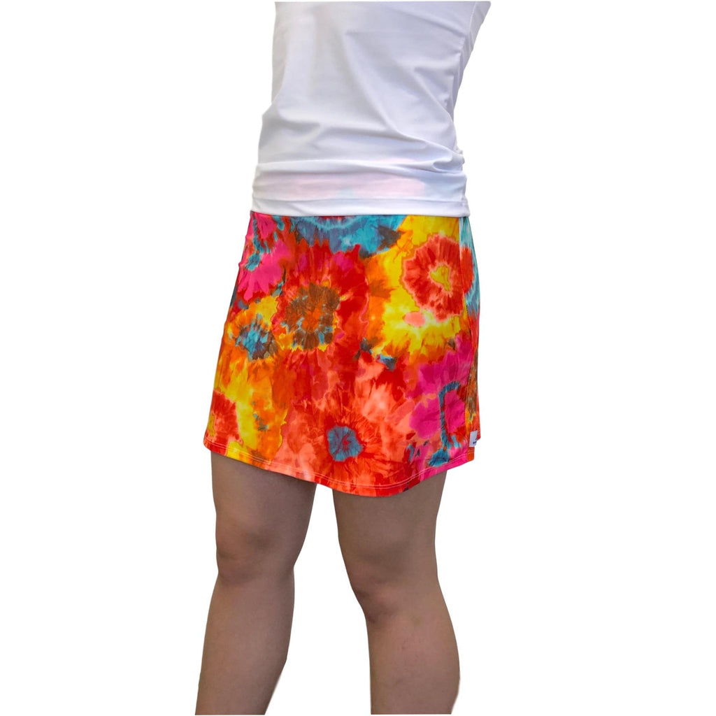 Orange Tie Dyed Print Athletic Slim Golf Skort w/ pocket- Golf Skirt