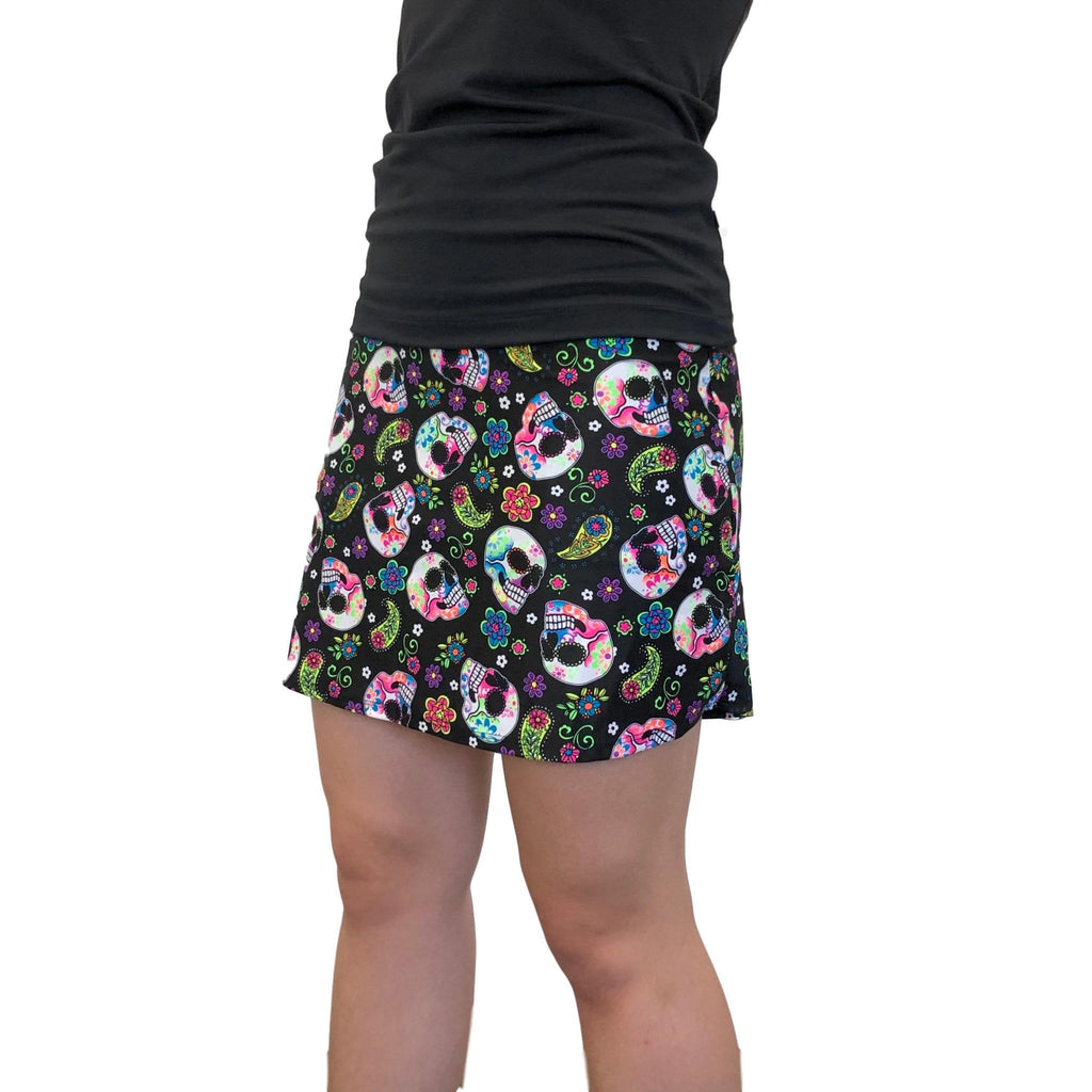 Sugar Skull Black Athletic Flutter Skort - Golf or Tennis Skirt - Smash Dandy