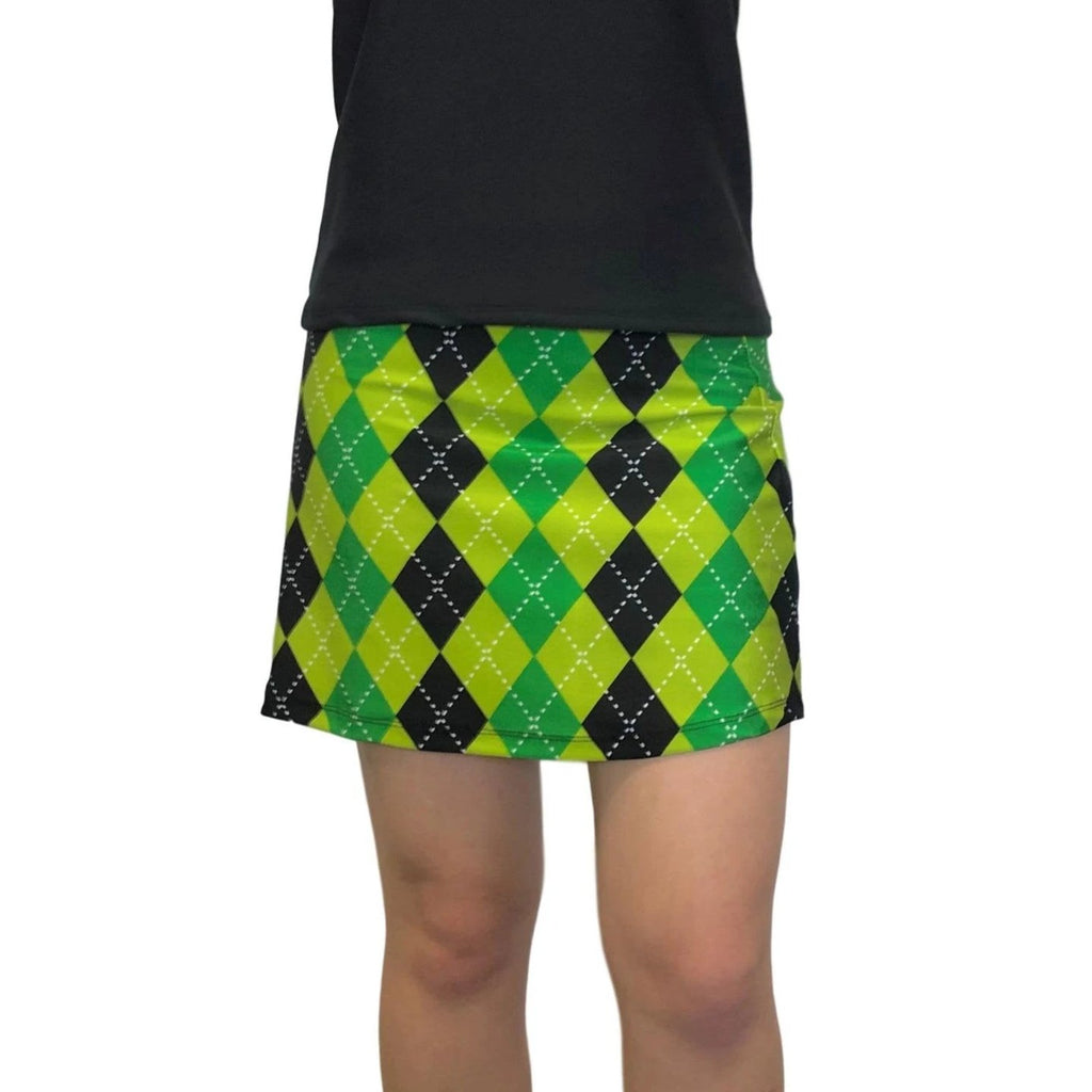 Green and Black Argyle Print Athletic Slim Skort - Smash Dandy