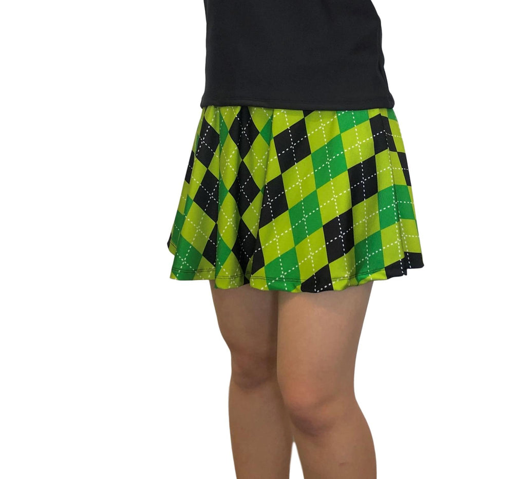 Green Argyle Athletic Skirt w/ built in compression shorts and pocket- tennis skirt, skater skirt, golf skirt, running skirt, kilt