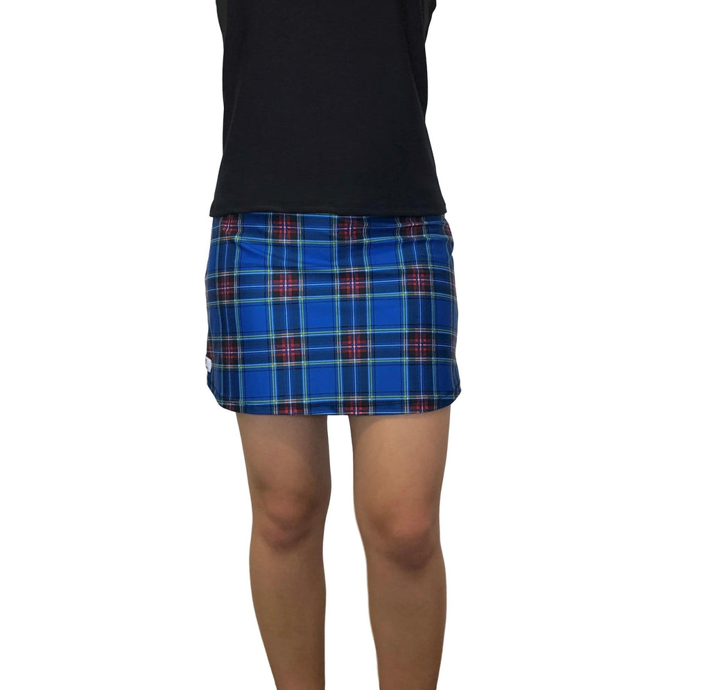 Blue and Black Plaid Print Athletic Slim Golf Skort w/ pocket- Golf Skirt