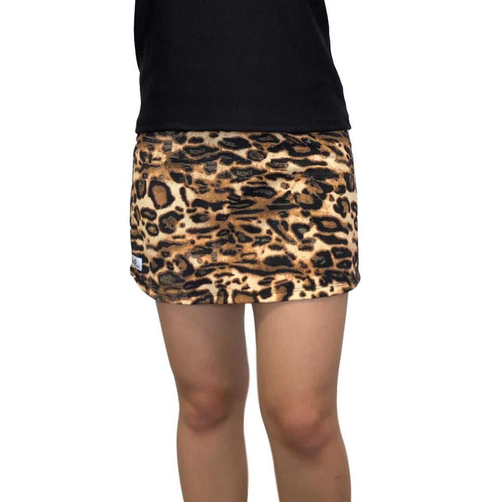 Brown and Black leopard Print Athletic Slim Golf Skort - Smash Dandy