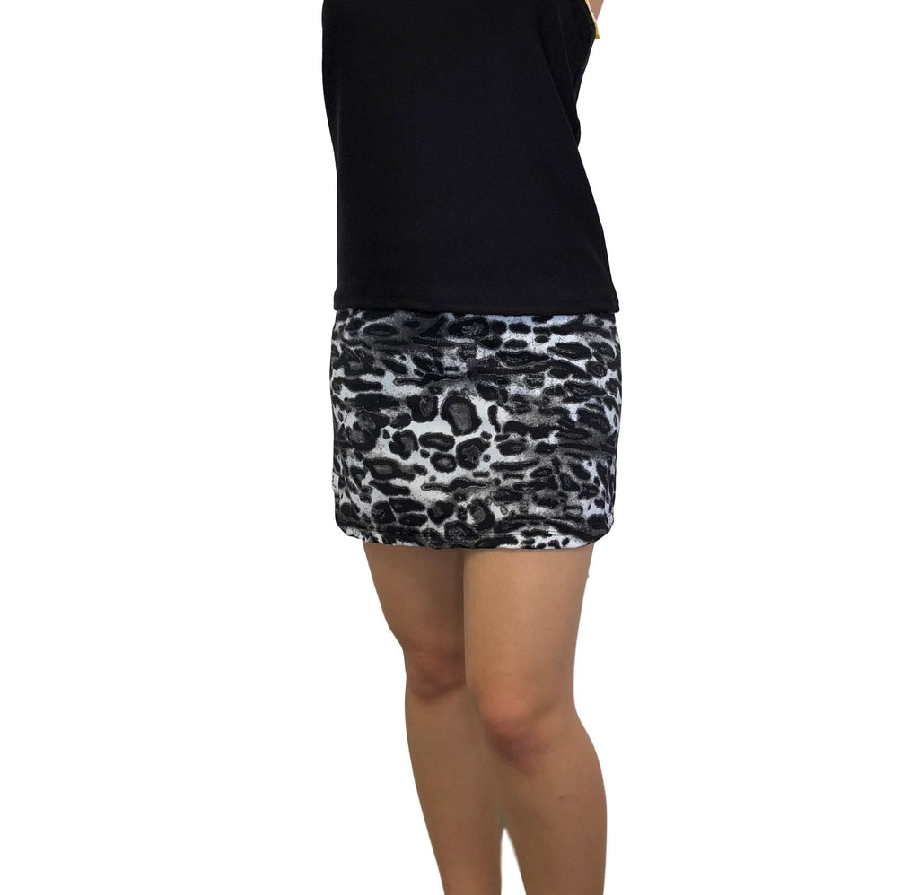 Black and White Leopard Print Athletic Slim Golf Skort w/ pocket- Golf Skirt