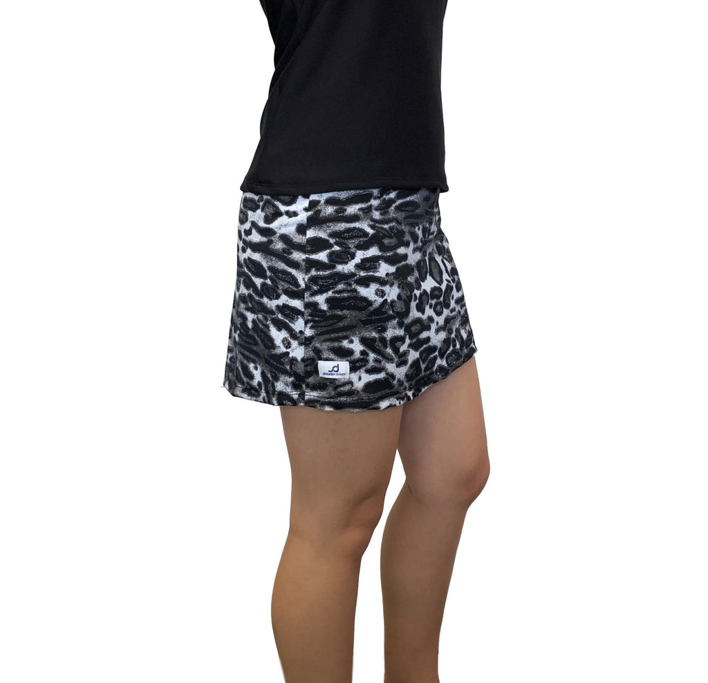 Black and White Leopard Print Athletic Slim Golf Skort - Smash Dandy