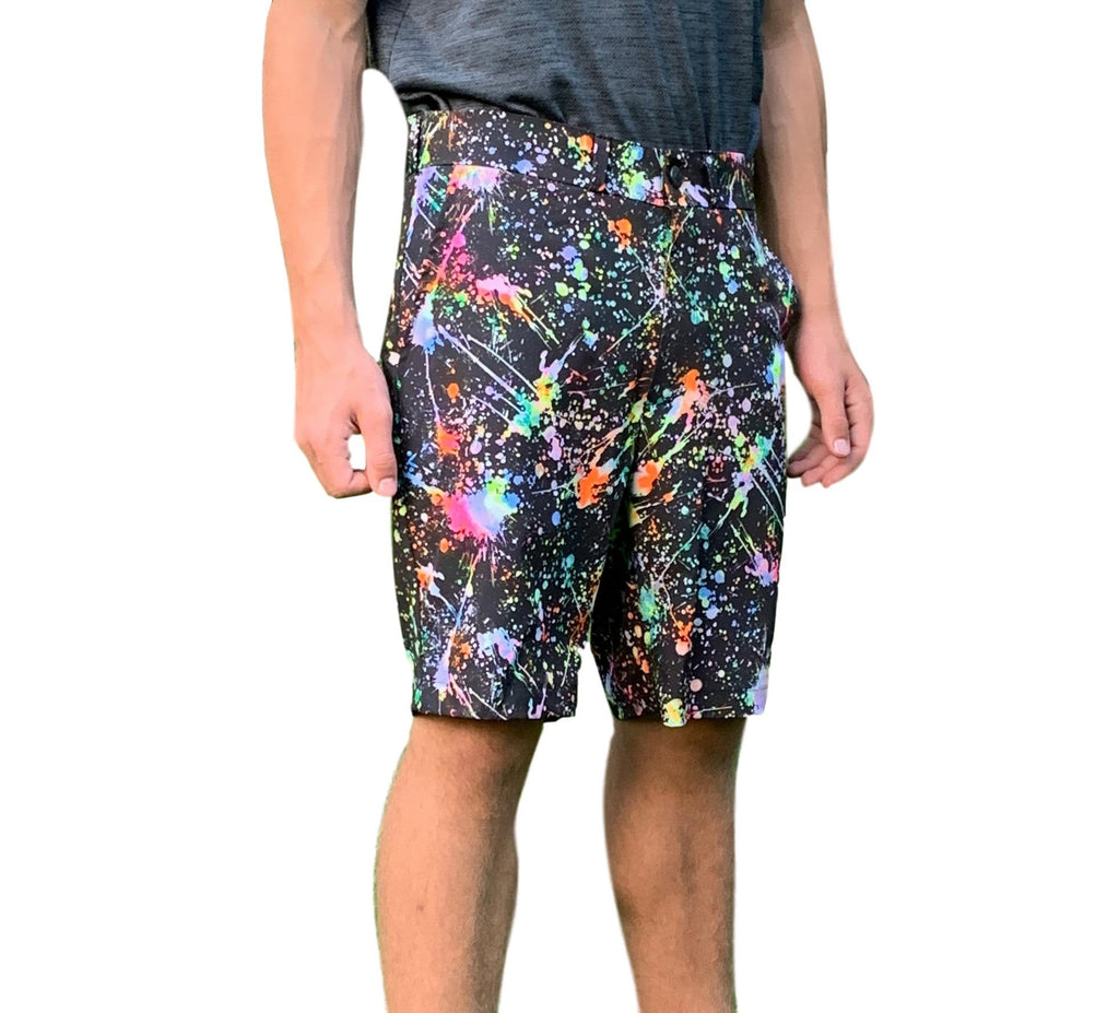 Splatter Print Men's Golf Shorts - Smash Dandy