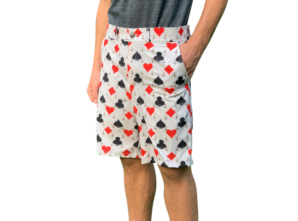 Card Shark Print Men's Golf Shorts - Smash Dandy
