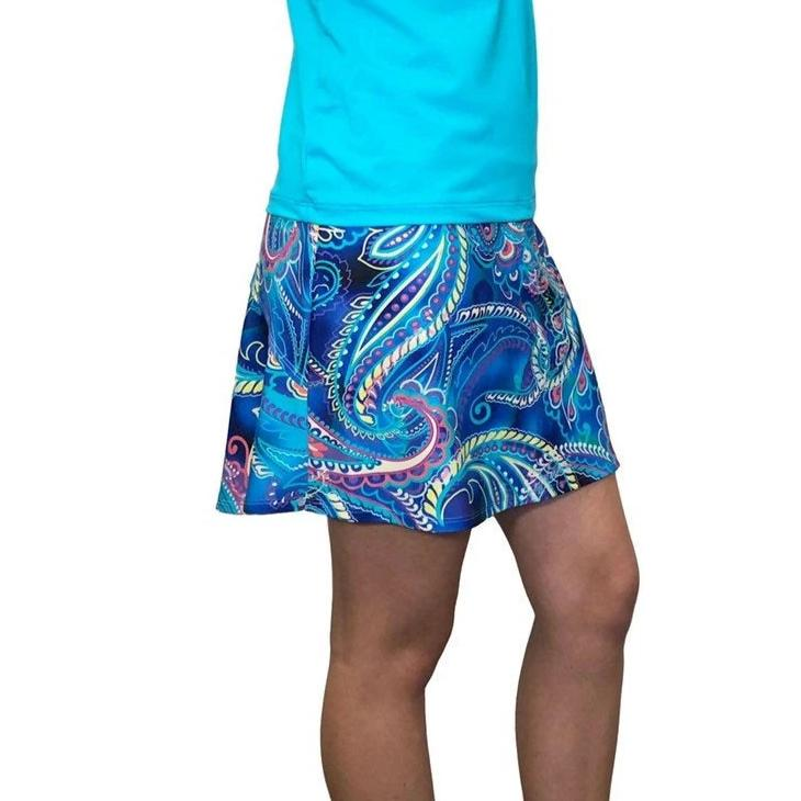 Blue Paisley Athletic Flutter Skort - Tennis or Golf Skirt - Smash Dandy