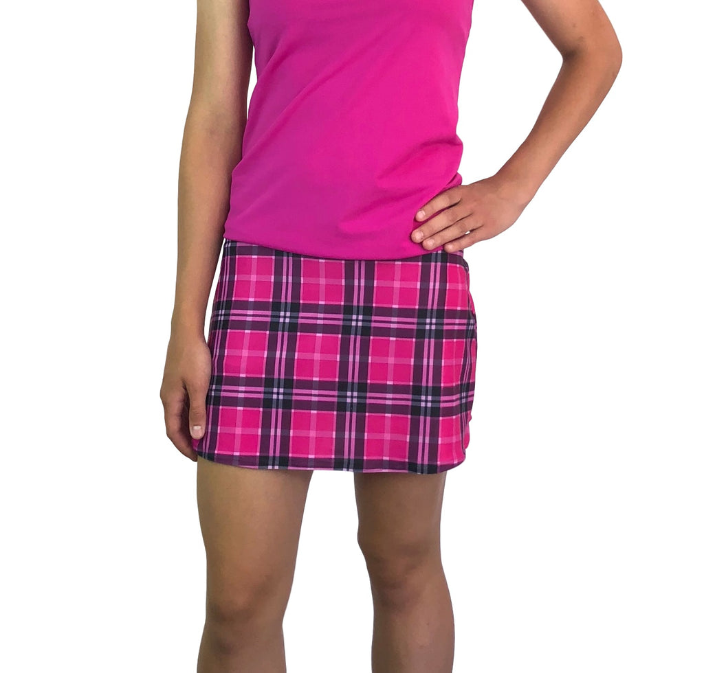 Pink Plaid Print Athletic Slim Golf Skort